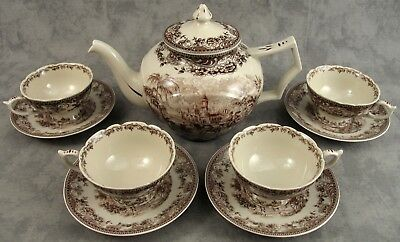 BROWN & CREAM VICTORIAN COUNTRY TOILE 9 PIECE TEA SET with 6 ½ CUP TEAPOT