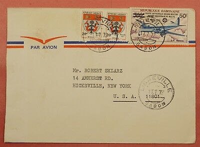 1972 Gabon Libreville Cancel Multi Franked Airmail Cover To Usa