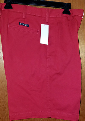 New Men's Chaps Pleated Front Shorts - Size 30- Red - NWT