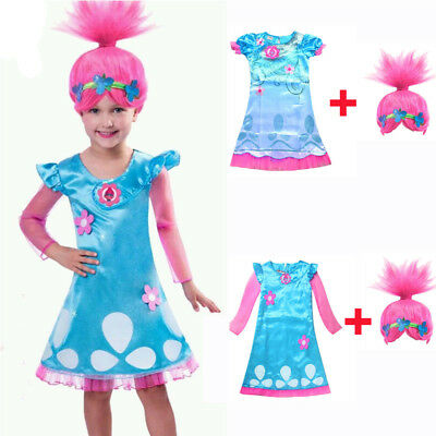 Poppy Trolls Costumes Headband Hair Wig Princess Child Girls Dresses Set Cosplay