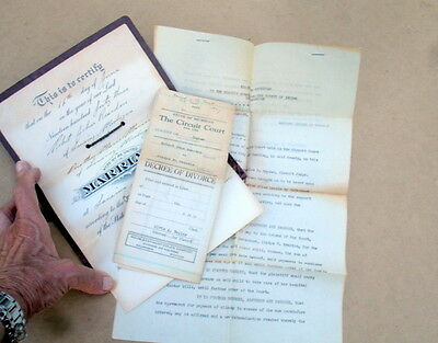 1943 MARRIAGE RECORD FOLDER~CERTIFICATE~DIVORCE DECREE FROM 1st WIFE~ALIMONY FIX