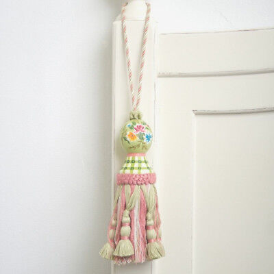 Shabby Chic French Provincial Hand Painted Country Pink Green Flower Tassel