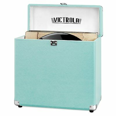 Vinyl Record Storage Carrying Case 30 + LP Records vintage look Turquoise Teal