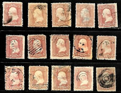 Sc #65 Shades Study Collection Washington 3 Cent 1861-62 US Stamps 8049
