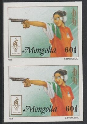 Mongolia 5543 - 1996 OLYMPICS - PISTOL SHOOTING IMPERF PAIR unmounted mint