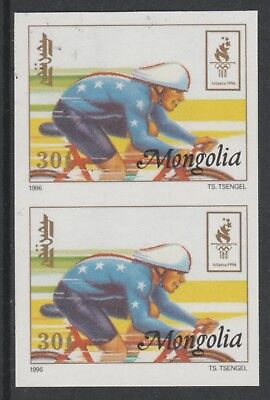 Mongolia 5544 - 1996 OLYMPICS - CYCLING IMPERF PAIR unmounted mint