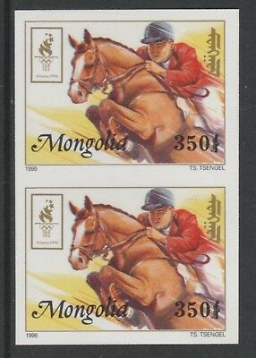 Mongolia 5546 - 1996 OLYMPICS - SHOW JUMPING IMPERF PAIR unmounted mint