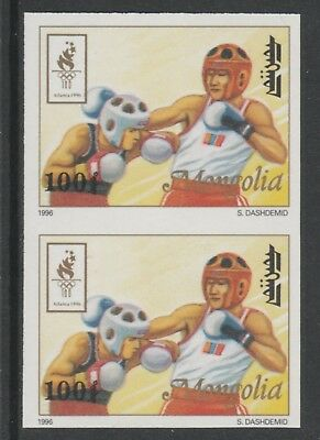 Mongolia 5547 - 1996 OLYMPICS - BOXING IMPERF PAIR unmounted mint