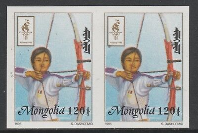 Mongolia 5549 - 1996 OLYMPICS - ARCHERY IMPERF PAIR unmounted mint