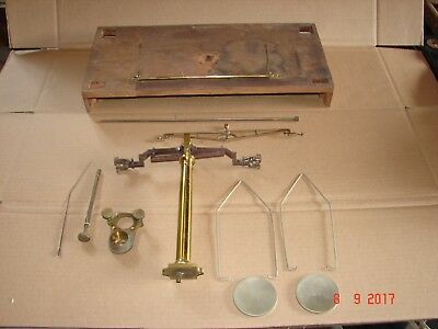 Antique Aporthecary, Gold, Scientific Brass Balance Scales Parts With Wood Base