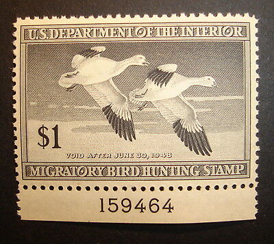 United States SCOTT #RW14- 1947 $1 Snow Geese DUCK STAMP Plate Single XF OF NH