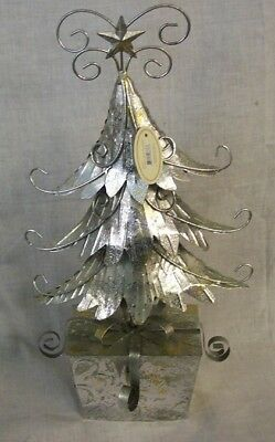 """NEW Silver Metal CHRISTMAS TREE ON PACKAGE BASE 16"""" Tall TII Collections"""