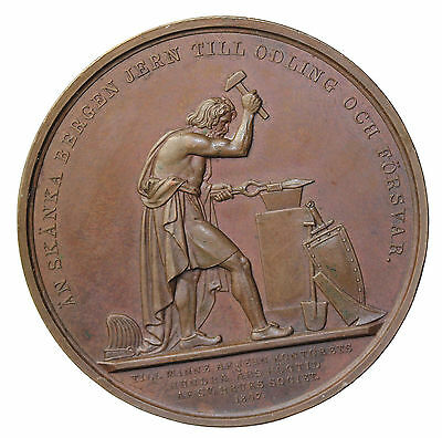 1847 Sweden Oscar I Iron Industry Centenary Bronze Medal By Lundgren