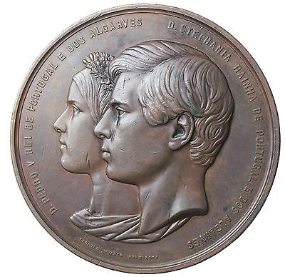 Portugal 1858 Pedro V and Stefania  bronze Wedding Medal By Wiener