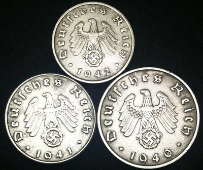 ✯WW2 Rare Nazi Coin Set ✯ 1 Pf, 5Pf, & 10Pf  ✯ ALL SWASTIKA ✯ Great Investment