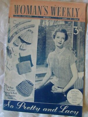 Vintage Woman's Weekly magazine April 1956,adverts, knitting patterns, articles