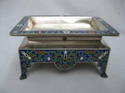 Imperial Russian 88 Silver Cloisonne Enamel Footed Mystery? Tray Grachev Moscow