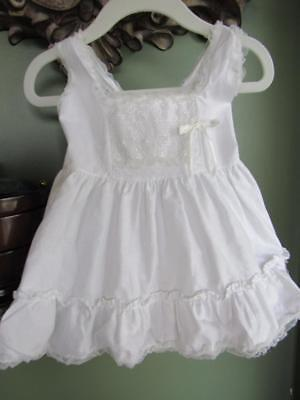 Vtg 1950s Little Girls Full Fluffy White Cotton Petticoat Dress SLIP Sz 1 Doll