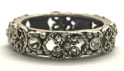 Antique Style Sterling Silver 925 Oxidized Floral Floating CZ Eternity Band Ring