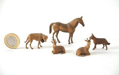 German / Austrian Finely Carved Miniature Wooden Animals - Horse Dogs Goat Deer