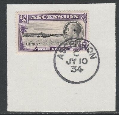 Ascension 5569 - 1934 KG5 1/2d  on piece with MADAME JOSEPH FORGED POSTMARK