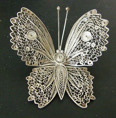 Antique Sterling Silver Butterfly Brooch Exquisite  Craftsmanship Peru