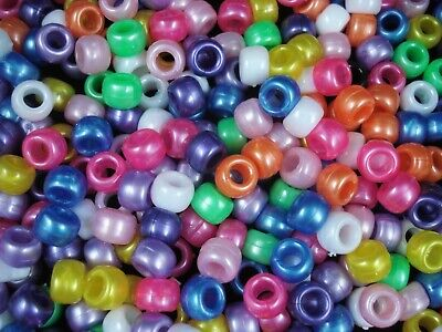 Pony Beads 9x6mm Pearl Mix 500pc Bulk Pack Kids Hair Party FREE POSTAGE