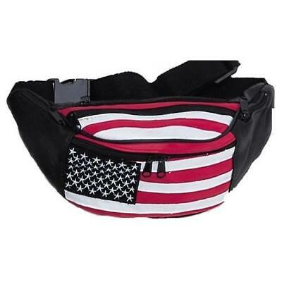 Leather Fanny Pack w/ 3 Zippered Pouches (American Flag) New