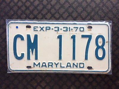1970 Maryland License Plate Cm 1178
