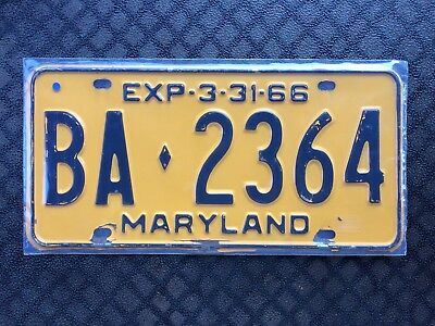 1966 Maryland License Plate Ba 2364