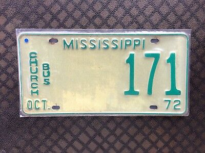 1972 Mississippi Church Bus License Plate 171