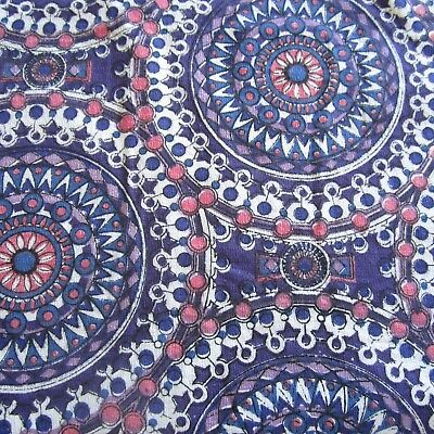 50Cm X 60Cm Vintage Cotton Barkcloth Fabric 1960S Retro Purple Mandala