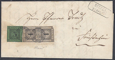 "1853, 1 Kr., 3 Kr.: ""118""– RIEGEL Brief v. Oberschaffhausen n. Friesenheim  #118"