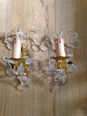 Antique french pair of crystal sconces