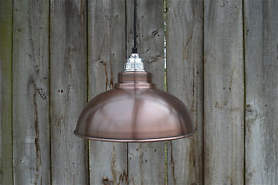 Aged copper Detroit hanging pendant light shade with polished fitting E27 bulb