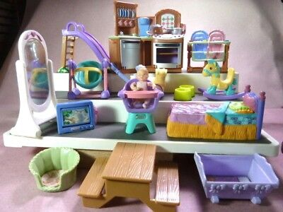 Fisher Price Playskool Dollhouse Loving Family Accessory Lot: Stove Bed Preown
