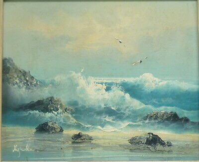 1960s signed Rocky Seascape Oil Painting on Canvas in original Frame * POPULAR