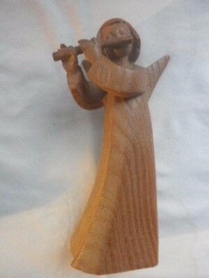 Hand Carved Wooden Angel   Stands 7 1/2 Inches Tall