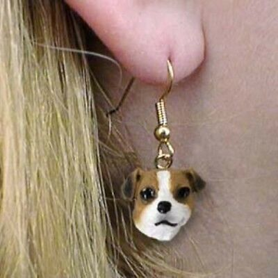 Dangle French Wire JACK RUSSELL BROWN Dog Earrings CLEARANCE