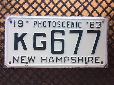1963 New Hampshire License Plate Kg677