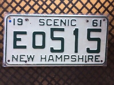 1961 New Hampshire License Plate Eo515