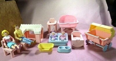 Playskool Dollhouse Family Figure & Accessory Lot: Dad Mom & Twin & More Preown