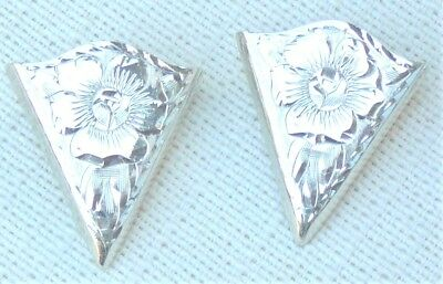 Sterling silver ornate collar tips with back screw, Sunset Trails Sterling mark
