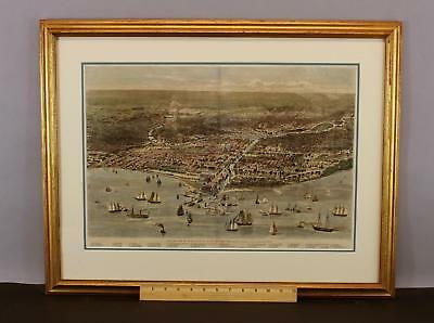 Antique 1871 Birds-Eye View CHICAGO Before the Great Fire Tinted Print Map, NR
