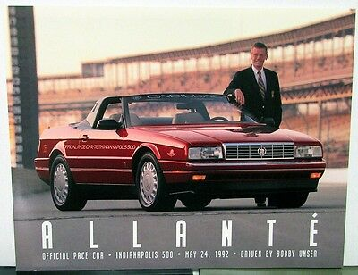 1992-93 Cadillac Allante Indy 500 Official Pace Car Handout Card Bobby Unser