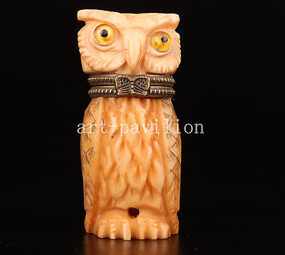 Cattle Bone Carving Precious Owl Lifelike Statue Jewelry Box Collectable China