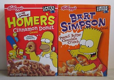 Pair Of Sealed 2002 Kellogg's Limited Edition The Simpsons Cereal Homer & Bart