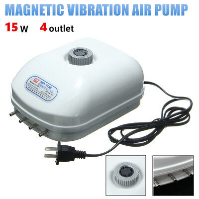 Oxygen Aquarium Fish Tank 4 outlet Adjustable Silent Large Air Pump Generator