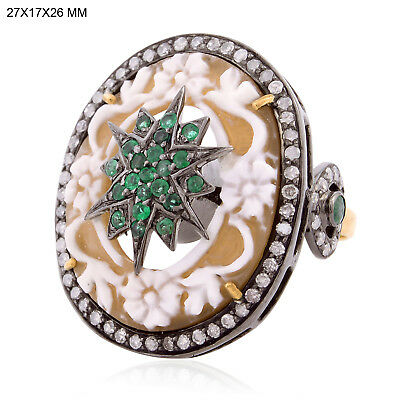 18K Gold Diamond Emerald Gemstone Carved Cocktail Ring 925 Sterling Silver