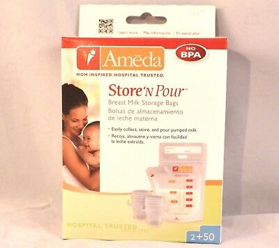 Ameda Store 'N Pour Breast Milk Storage Bags 50 bags 2 adapters New Sealed Box
